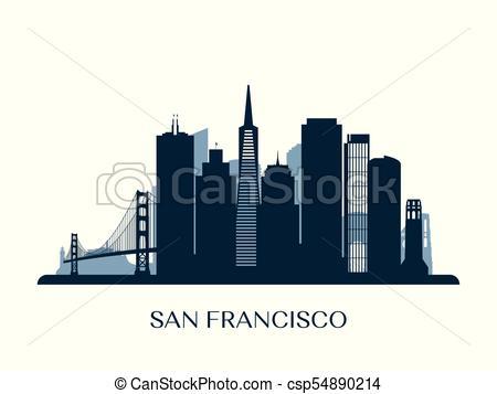 450x357 San Francisco Skyline, Monochrome Silhouette. Vector Illustration.