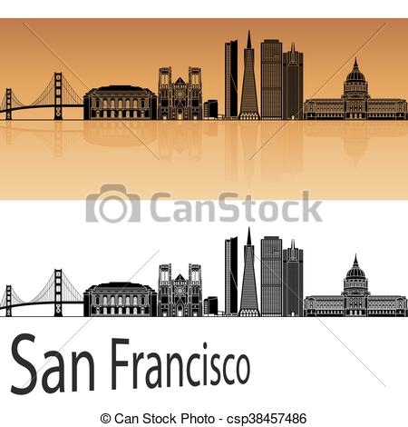 450x470 San Francisco Skyline In Orange Background In Editable Vector File.