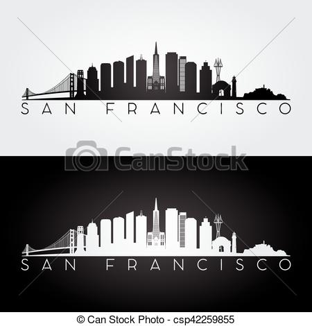 450x470 San Francisco Skyline Silhouette. San Francisco Usa Skyline And