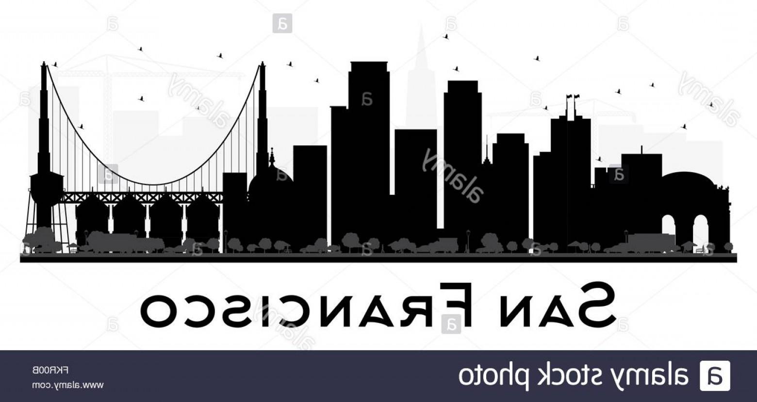 1560x829 Stock Photo San Francisco City Skyline Black And White Silhouette