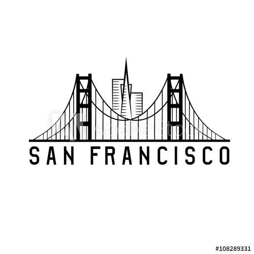 500x500 Skyline Of San Francisco Skyline Vector Design Illustration