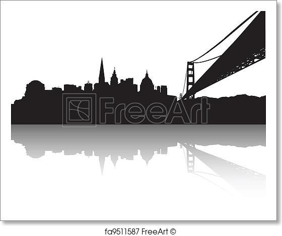 560x470 Free Art Print Of San Francisco Skyline . Vector Of The San