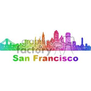300x300 Royalty Free City Skyline Vector Clipart Usa San Francisco 402692