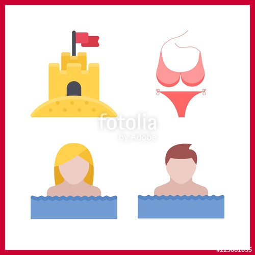 500x500 Swimming Icon. Pink Bikini And Sand Castle Vector Icons In