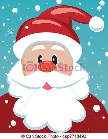 365x470 Vector Xmas Illustration Of Santa With Big Beard For Your Text.