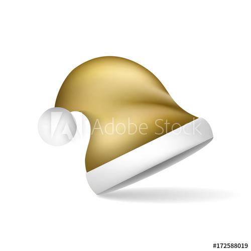 500x500 Gold Christmas Santa Claus Hat. Vector Illustration.
