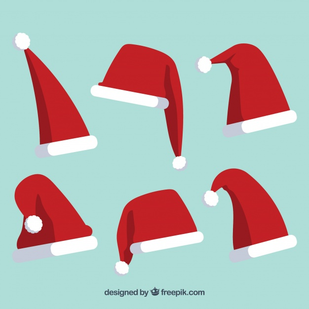 626x626 Pack Of Santa Claus Hats Vector Free Download