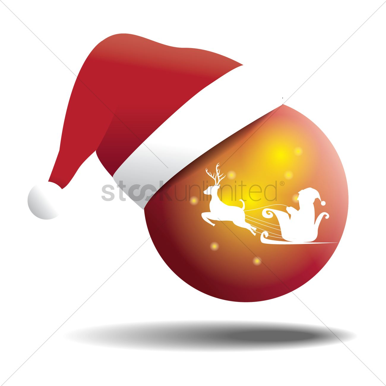 1300x1300 Reindeer And Santa Claus On Glass Ball With Santa Hat Vector Image