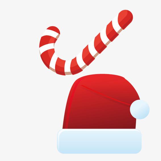 567x567 Santa Claus Hat Cane, Santa Vector, Hat Vector, Vector Png And
