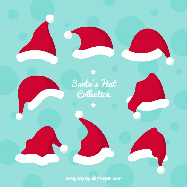 626x626 Santa Claus Hat Collection Vector Free Download