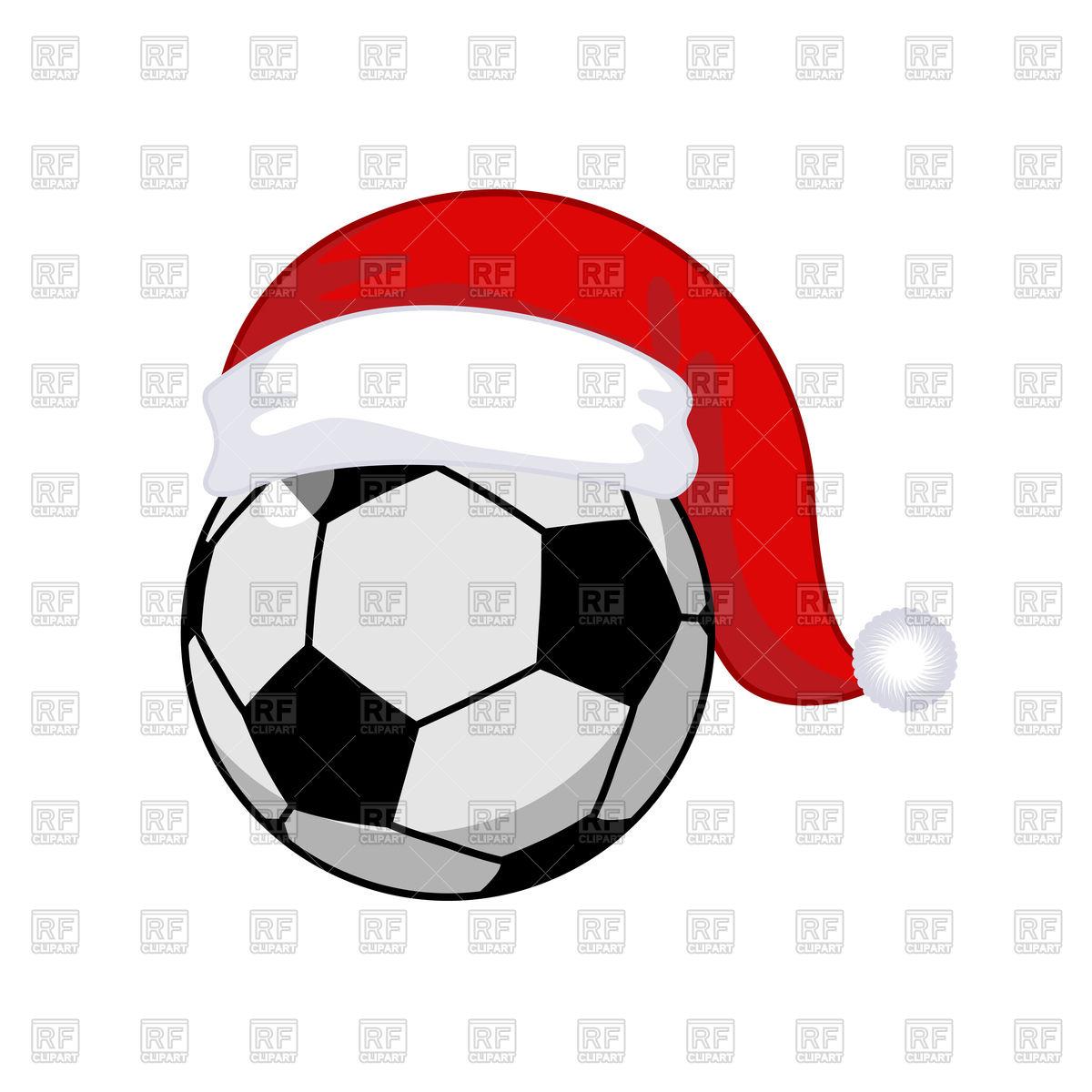 1200x1200 Soccer Ball In Santa Claus Hat Vector Image Vector Artwork Of