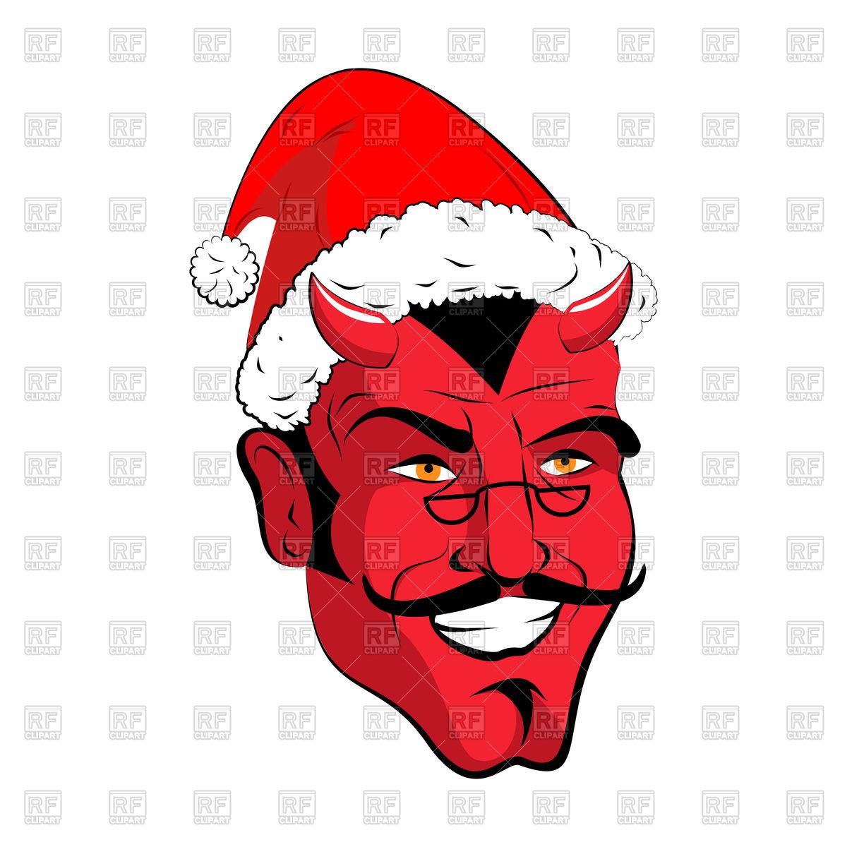 1200x1200 Satan Santa Head, Red Demon With Santa Hat Vector Image Vector