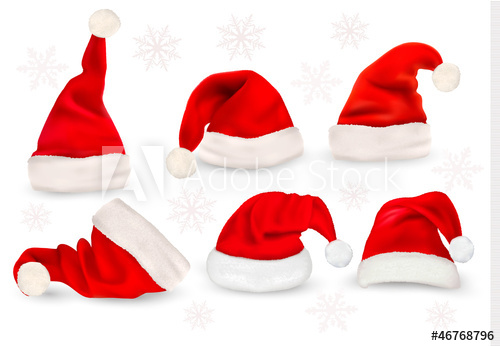 500x346 Big Collection Of Red Santa Hats. Vector.