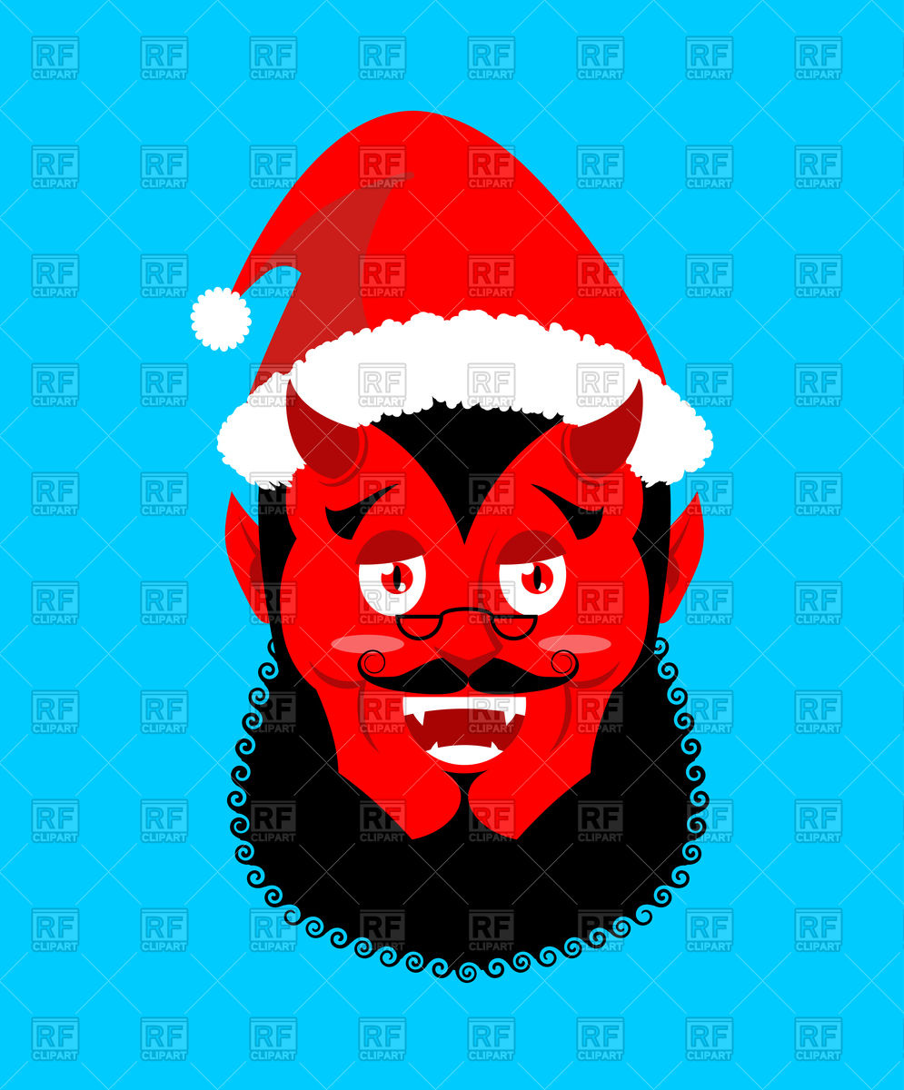 995x1200 Satan With Horns In Red Santa Hat Vector Image Vector Artwork Of