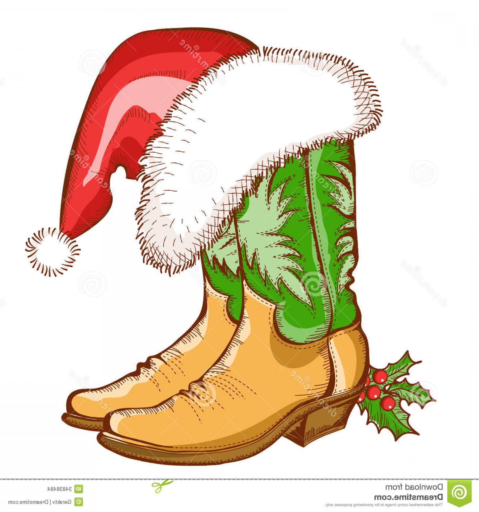 1560x1668 Stock Images Christmas Cowboy Boots Santa Hat Vector Western