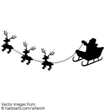 335x355 Download Silhouette Of Santa In His Sleigh