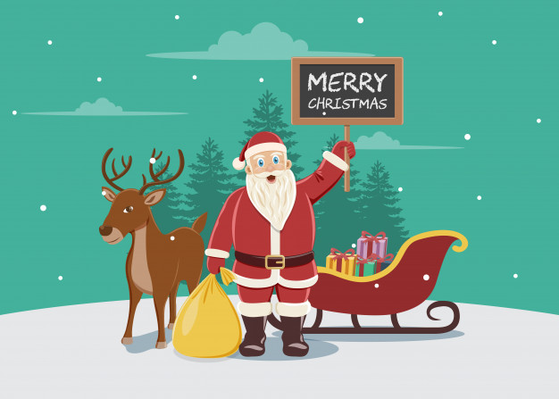 626x447 Illustration Of Santa Claus With Reindeer And Sledge Vector