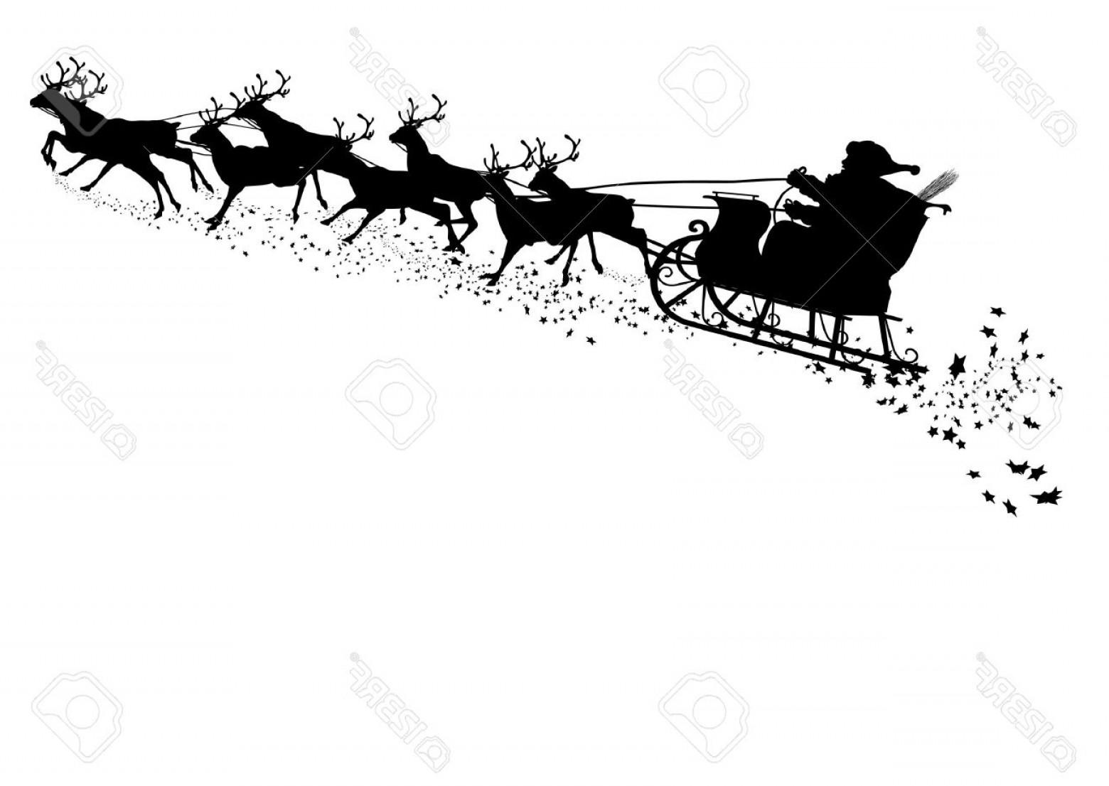 1560x1106 Photostock Vector Santa Claus With Reindeer Sleigh Black