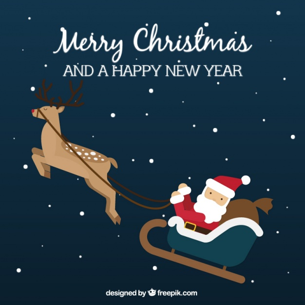 626x626 Background Of Lovely Santa Claus Flying On Sledge Vector Free