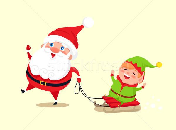 600x443 Santa Claus And Elf On Sledge Vector Illustration Vector