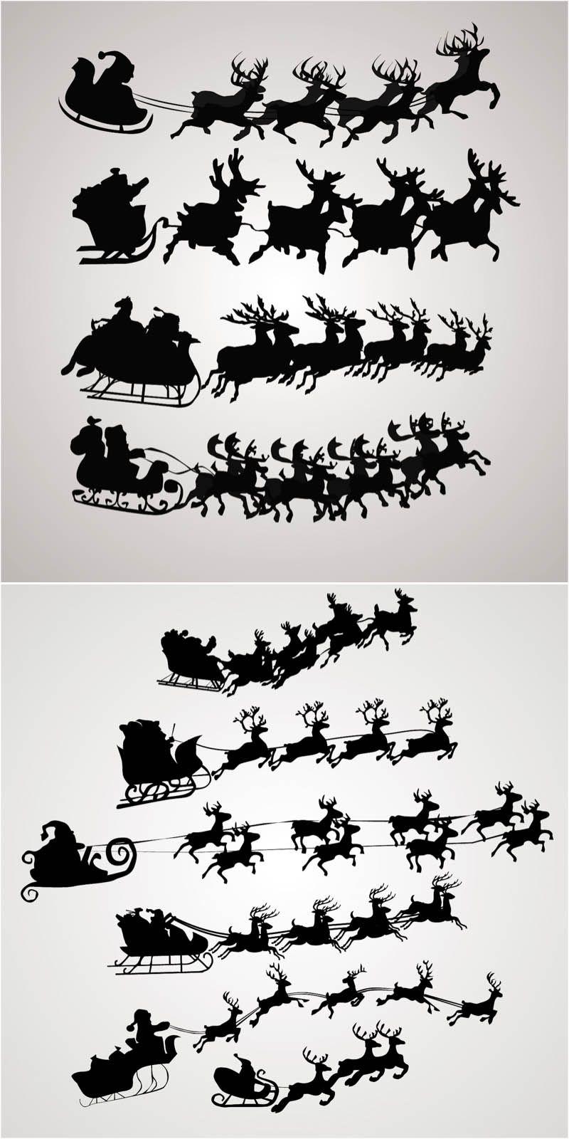 800x1600 Santa Claus On A Sleigh Vector. Free Download!! Cricut Trials