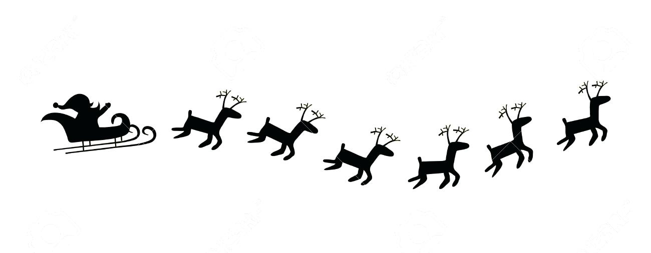 1300x506 Santa Sleigh With Reindeer Moose Vector And Templates Download