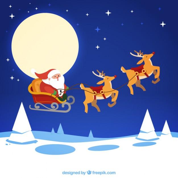 626x626 Santa Claus Flying In His Sledge Vector Premium Download