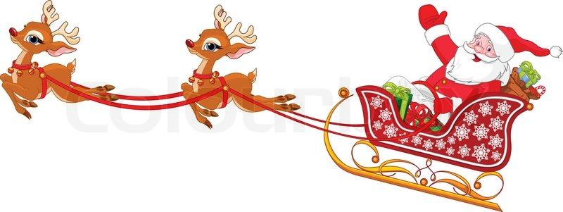 800x301 Cartoon Illustration Of Santa Claus In His Sleigh Stock Vector