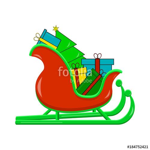 500x500 Santas Sledge With Presents. Santa Sleigh Vector Illustration