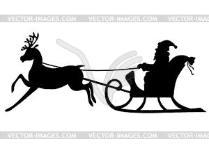 300x210 Silhouette Santa Claus Riding On Deer Sleigh