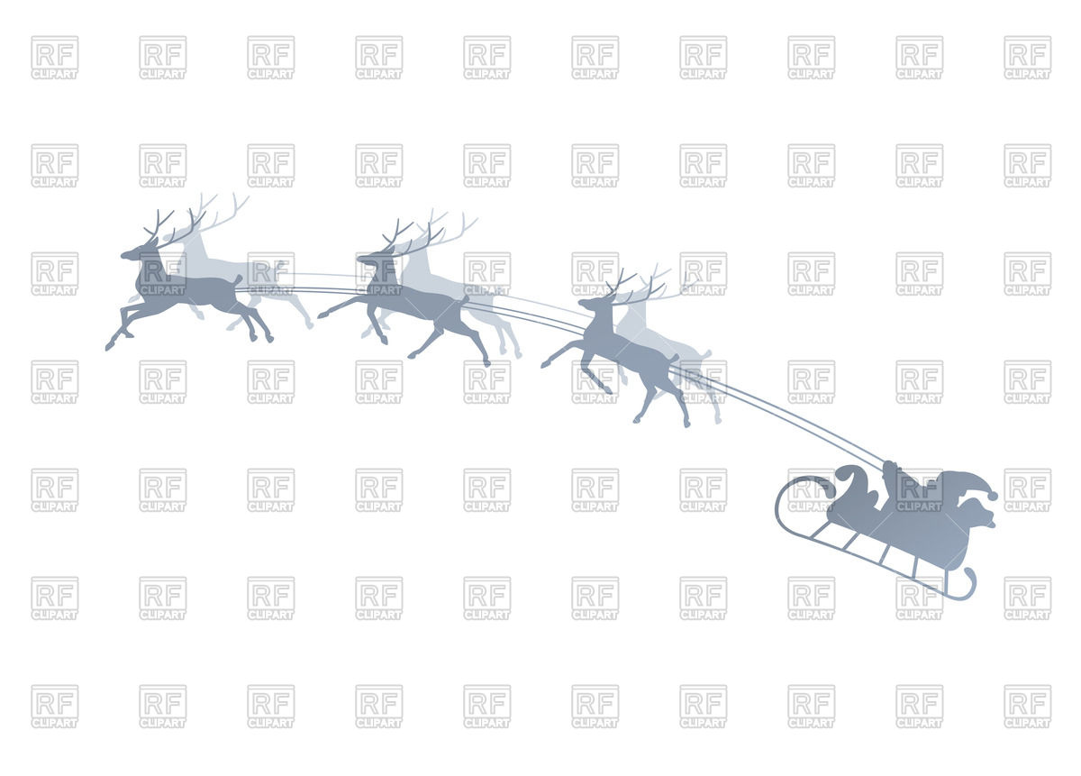 1200x861 Silhouette Of Running Reindeers With Santa In The Sleigh Vector