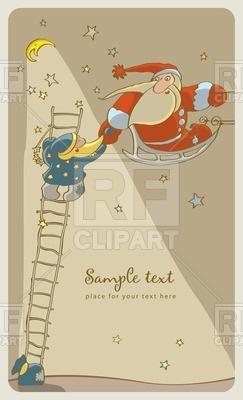 243x400 Small Santa On Ladder And Old Santa On Sledge Vector Image