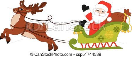 450x196 Vector Christmas Santa Claus And Reindeer Sledge. Vector Cute