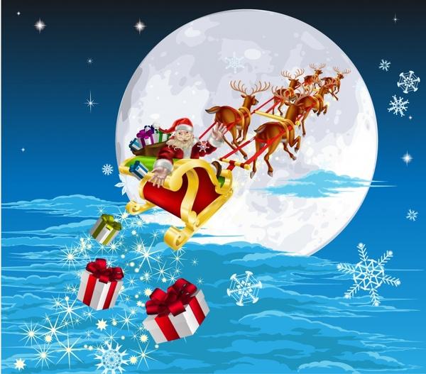 600x527 Cartoon Santa Claus Gifts Christmas Sleigh Vector Free Vector In