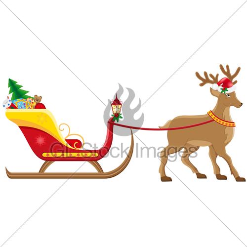 500x500 Christmas Santa Sleigh With Reindeer Vector Illustration Gl