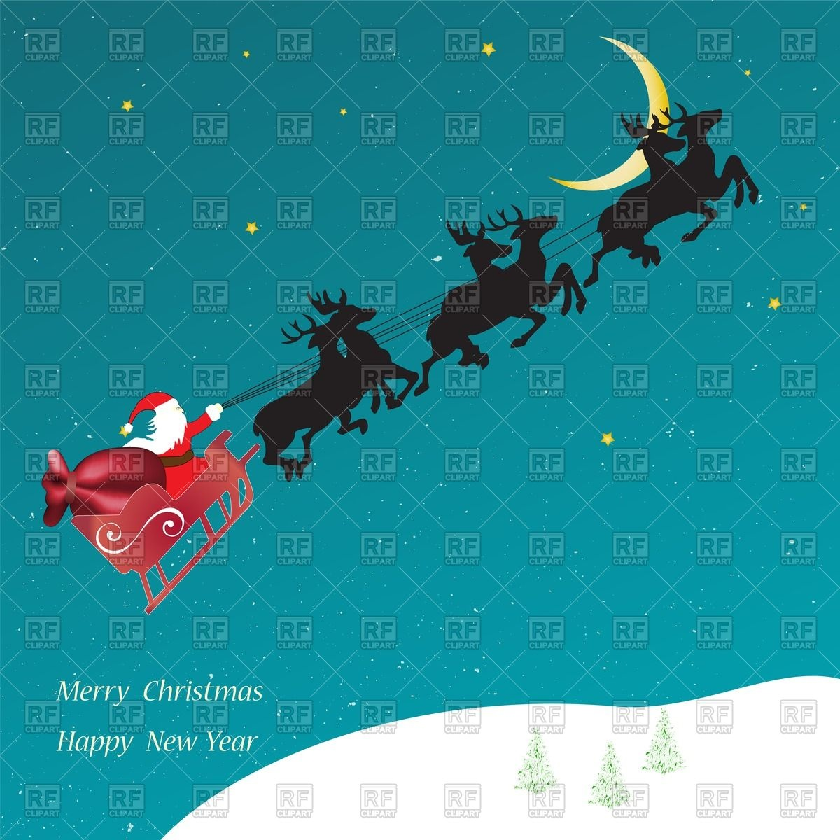 1200x1200 Christmas Card With Santa Claus On Flying Sledge Vector Image