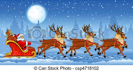 450x240 Christmas Santa Claus Riding On Sleigh With Reindeers By Snow