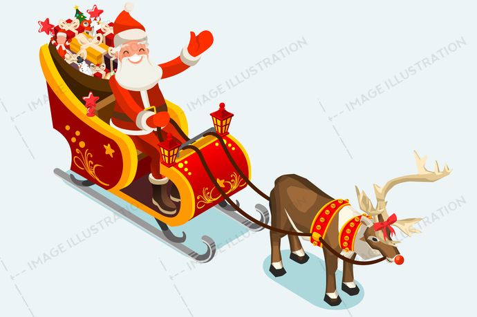 690x459 Clip Art Of Santa Sleigh Vector Illustration