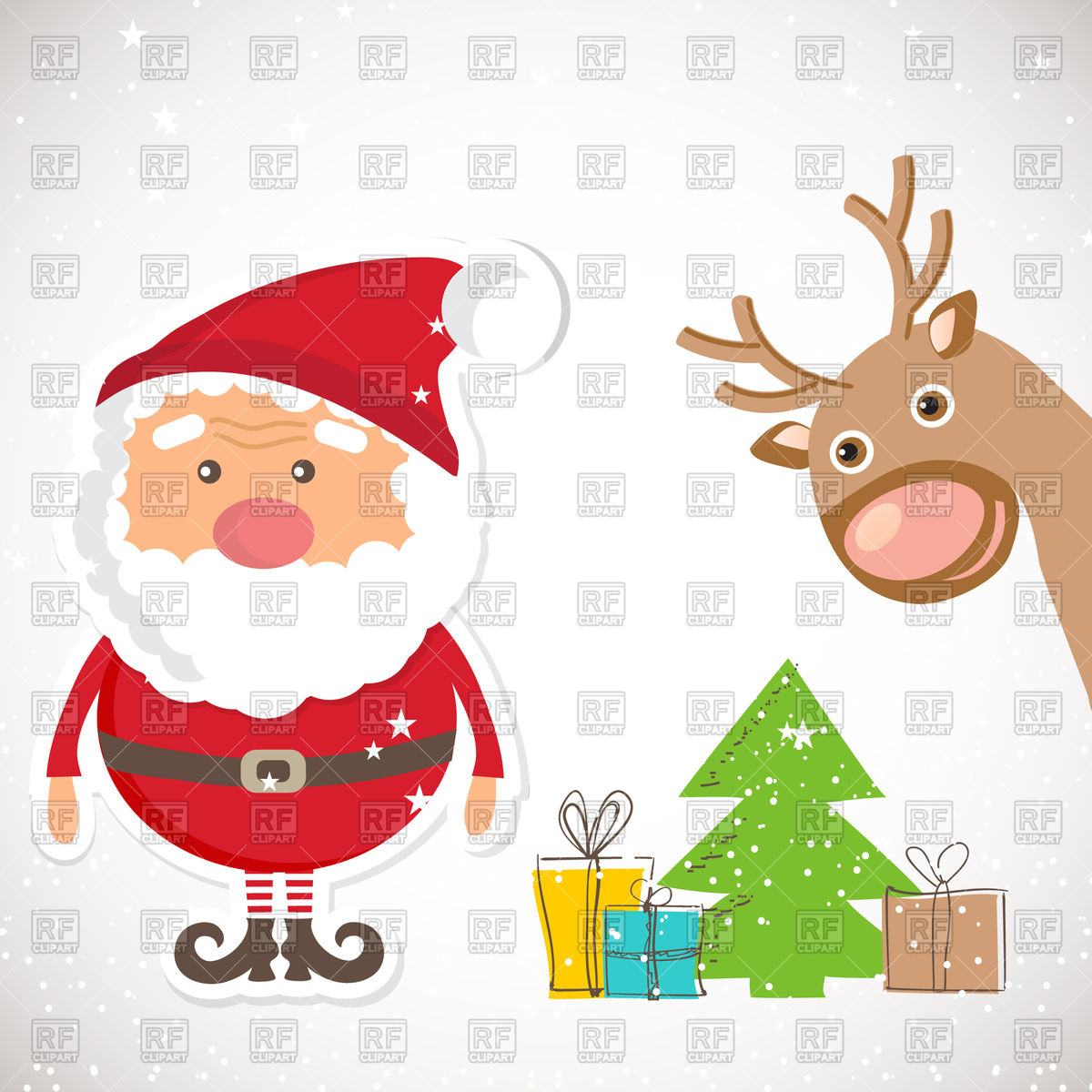 1200x1200 Cute Santa Claus And Reindeer And Heap Of Gifts Vector Image