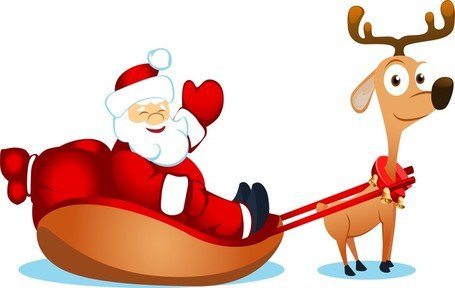 455x288 Free Vector Cute Santa Claus Elk And Clipart And Vector Graphics