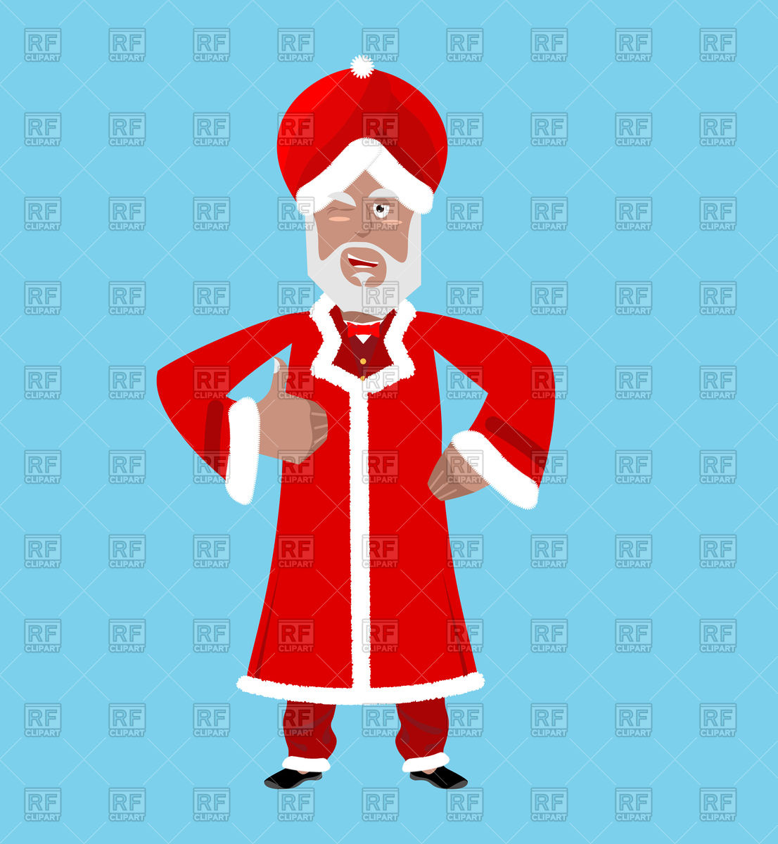 1106x1200 Indian Santa In Red Turban With Fur Vector Image Vector Artwork