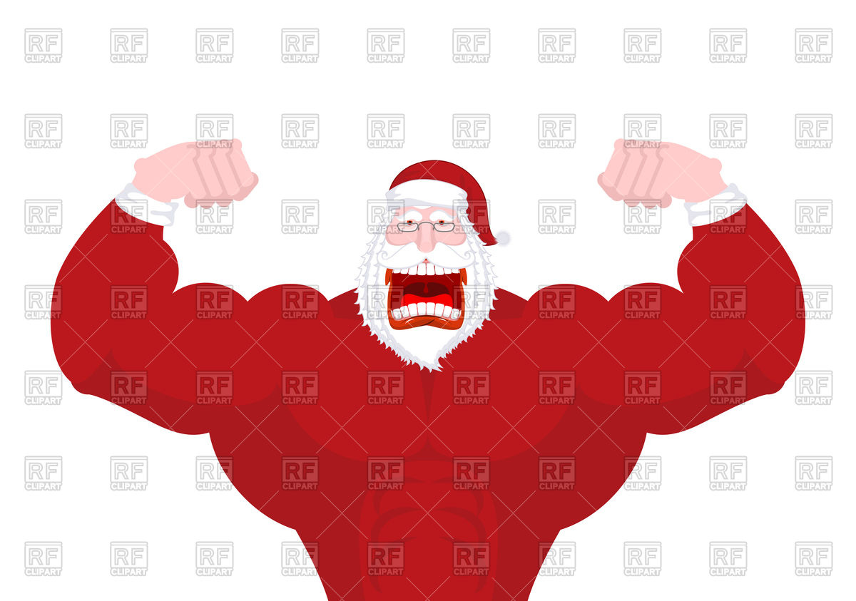 1200x843 Powerful Santa Claus With Big Muscles Vector Image Vector