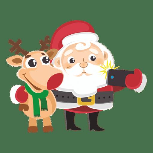 512x512 Santa Reindeer Capturing Selfie