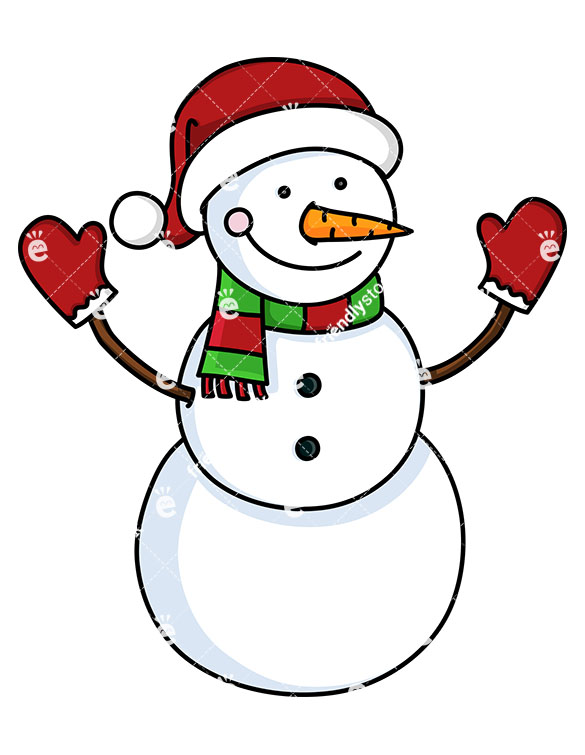 585x755 Snowman Wearing Santa Hat And Red Gloves Cartoon Vector Clipart