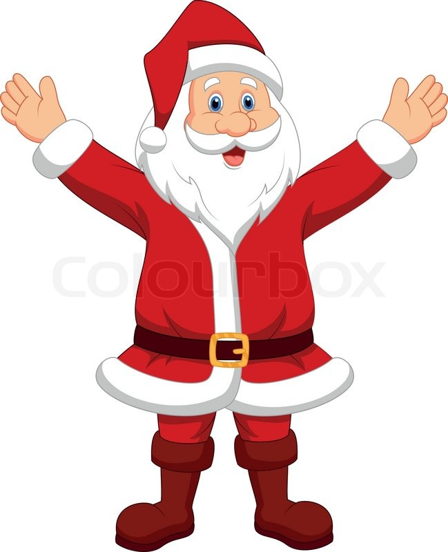 649x800 Vector Illustration Of Happy Santa Cartoon Waving Hand Stock