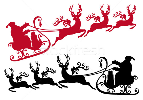 600x420 Santa With Sleigh And Reindeer, Vector Vector Illustration