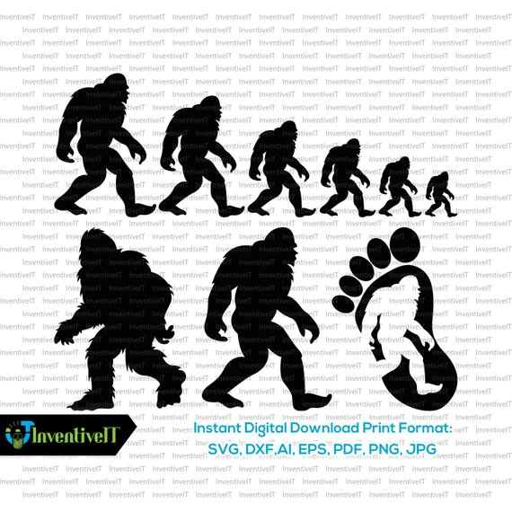 570x570 Bigfoot Svg Sasquatch Svg Silhouette Family Vector Etsy