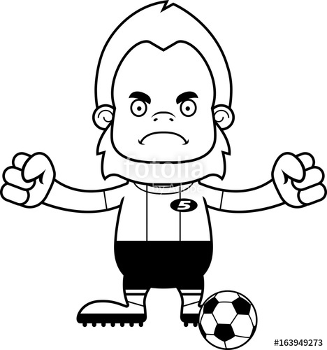 468x500 Cartoon Angry Soccer Player Sasquatch Stock Image And Royalty