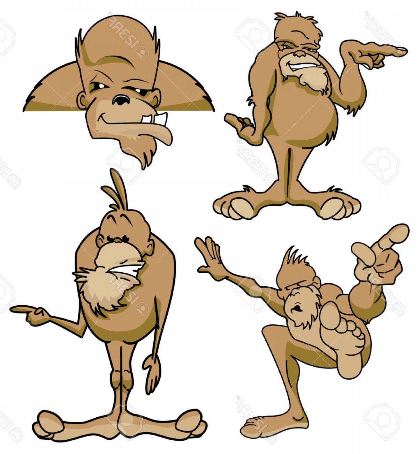1440x1560 Photostock Vector Various Poses Of Bigfoot Sasquatch Cartoon
