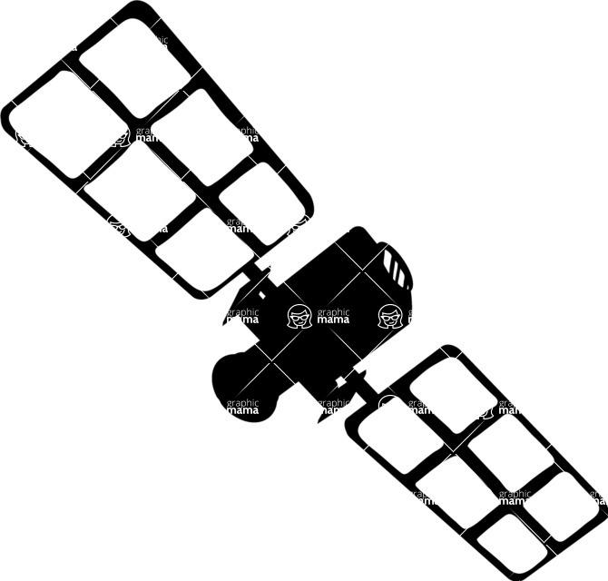 670x640 Satellite Vector Silhouette Graphicmama Graphicmama
